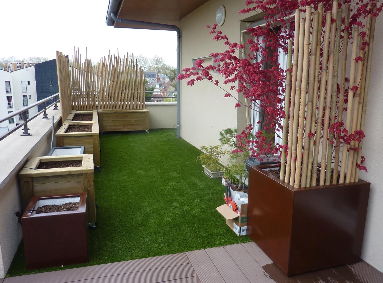 Aménagement terrasse. Brise-vent en bambou_Avril 2021 [4/4] – Travaux en cours